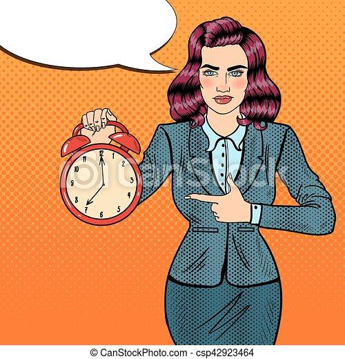 婦女, 藝術, work., 事務, 警報, 插圖, 矢量, 流行音樂, 藏品, 時間, clock. - csp42923464