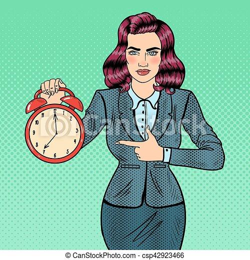 婦女, 藝術, work., 事務, 警報, 插圖, 矢量, 流行音樂, 藏品, 時間, clock. - csp42923466
