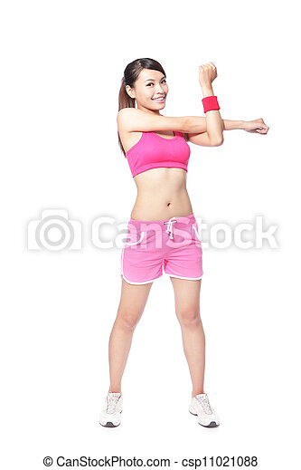 婦女, 适合, 她, 伸展, 向上, 溫暖, 手臂 - csp11021088