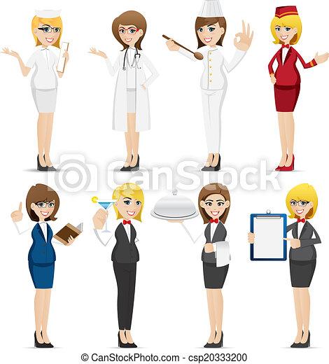 婦女, 集合, 卡通, 職業 - csp20333200