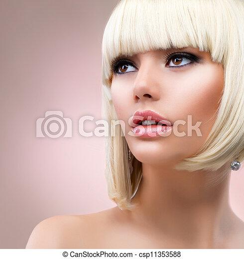 婦女, 頭髮麤毛交織物模式, portrait., 白膚金發碧眼的人, 白膚金髮 - csp11353588