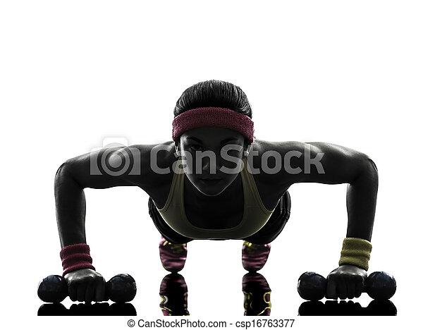 婦女, 黑色半面畫像, 測驗, 行使, 健身, 推, 向上 - csp16763377