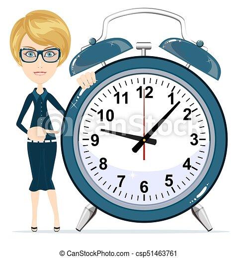 婦女, work., 事務, 警報, clock., 藏品, 時間, management. - csp51463761