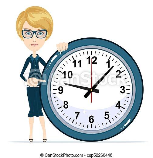 婦女, work., 事務, clock., 藏品, 時間 - csp52260448