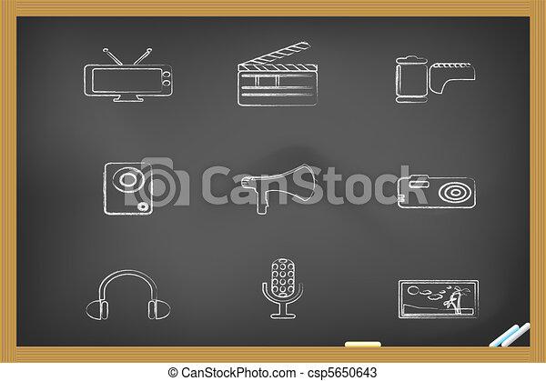 媒体, アイコン, drew, 黒板 - csp5650643