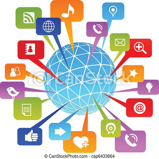 媒体, 社会, ネットワーク, 世界, アイコン - csp6433664