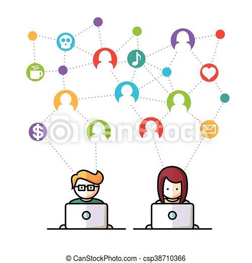 媒体, 社会, ネットワーク, 人々 - csp38710366