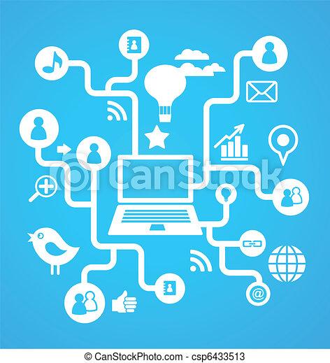媒体, 社会, ネットワーク, 背景, アイコン - csp6433513