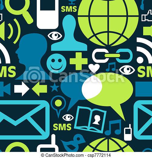 媒体, 社会, パターン, ネットワーク, アイコン - csp7772114