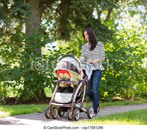 嬰儿車, 婦女, 公園, 推 - csp17581296