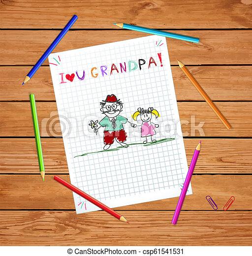 子供, おじいさん, 一緒に。, イラスト, granddughter - csp61541531