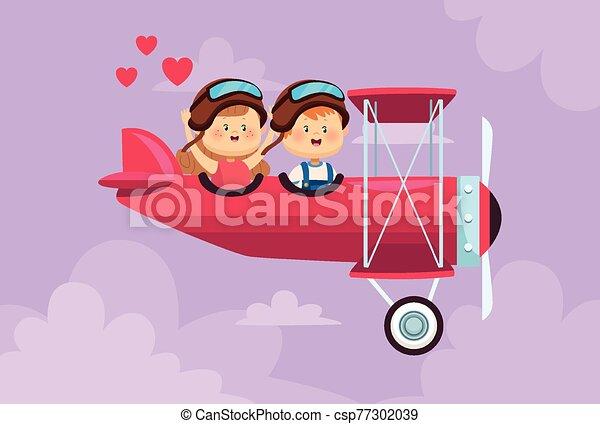 子供, わずかしか, 飛行機, 恋人, 飛行, かわいい - csp77302039