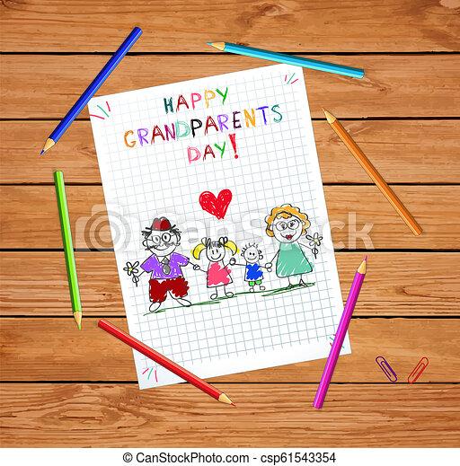 子供, カラフルである, 祖父母, イラスト, 手, ベクトル, grandparends, 引かれる, 子供, 日 - csp61543354