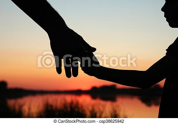 子供, シルエット, 親, 手 - csp38625942