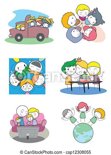 子供, セット, 幸せ - csp12308055