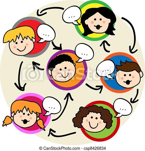 子供, ネットワーク, 社会 - csp8426834