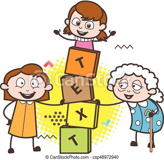 子供 ブロック イラスト ゲームを すること ベクトル おばあさん 漫画
