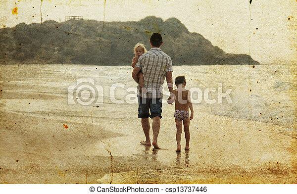 子供, 古い, 写真, イメージ, 父, 2, 休暇, sea., style. - csp13737446