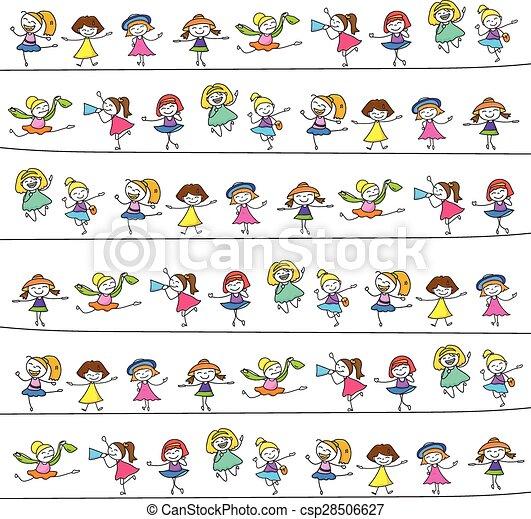 子供, 図画, 手, 幸せ - csp28506627