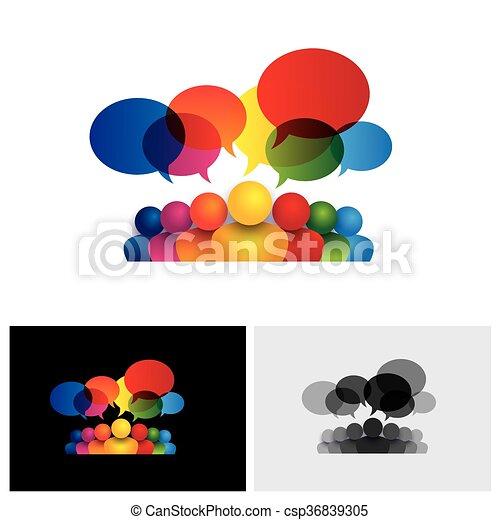 子供, 媒体, 社会, 話し, ベクトル, コミュニケーションアイコン, ミーティング, ∥あるいは∥, スタッフ - csp36839305