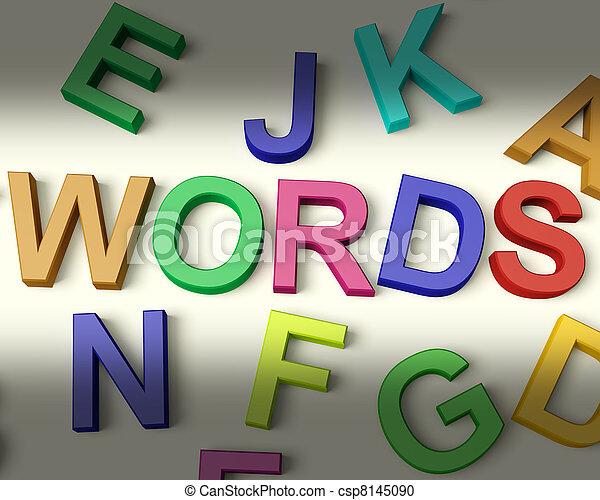 子供, 手紙, 多彩, 書かれた, 言葉, プラスチック - csp8145090