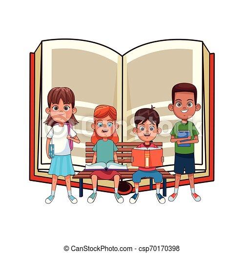 子供, 本, 若い, ベンチ - csp70170398