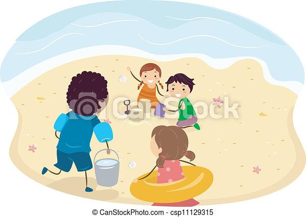 子供, 浜 - csp11129315