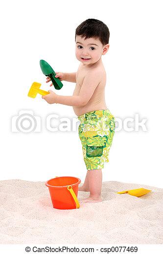 子供, 浜, 男の子 - csp0077469