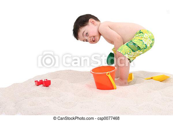 子供, 浜, 男の子 - csp0077468
