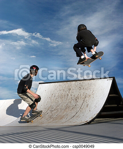 子供, skateboarding - csp0049049