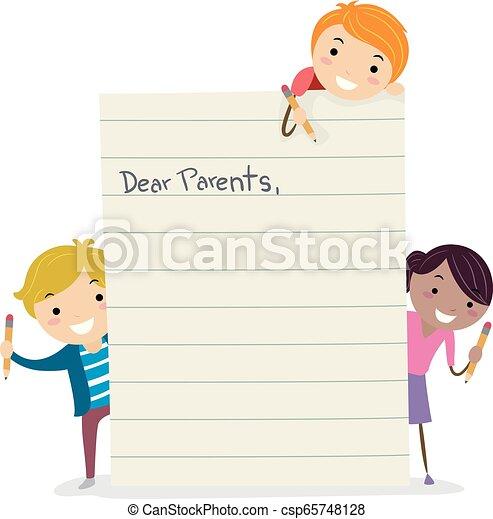 子供, stickman, イラスト, 親, 手紙, 作成 - csp65748128