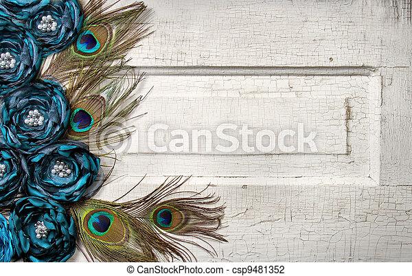 孔雀, 羽, 花, ドア, 型 - csp9481352