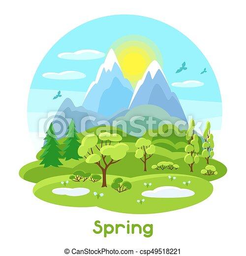 季節的 山 Hills 春 木 イラスト 風景 季節的 山 Illustration