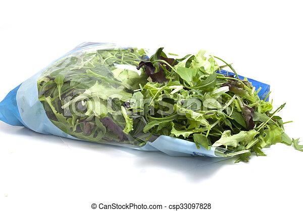 季節的, 様々, サラダ, パックされた - csp33097828