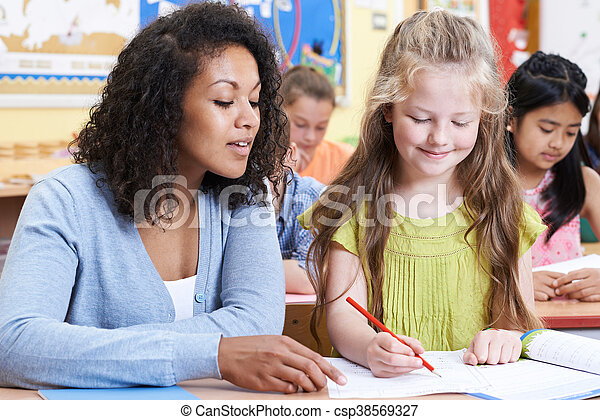 学校の クラス, 生徒, 女性, 基本, 教師 - csp38569327