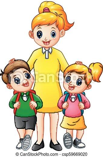 学校の 子供, ある, ∥(彼・それ)ら∥, escorted, お母さん, 漫画 - csp59669020