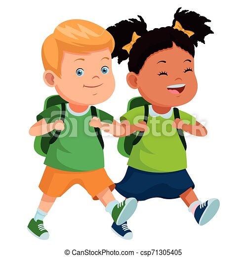 学校の 子供, バックパック, 微笑 - csp71305405