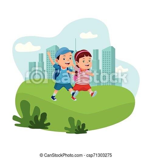 学校の 子供, バックパック, 微笑 - csp71303275