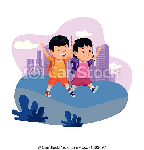 学校の 子供, バックパック, 微笑 - csp71303097