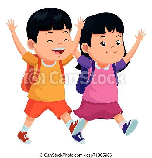 学校の 子供, バックパック, 微笑 - csp71305986