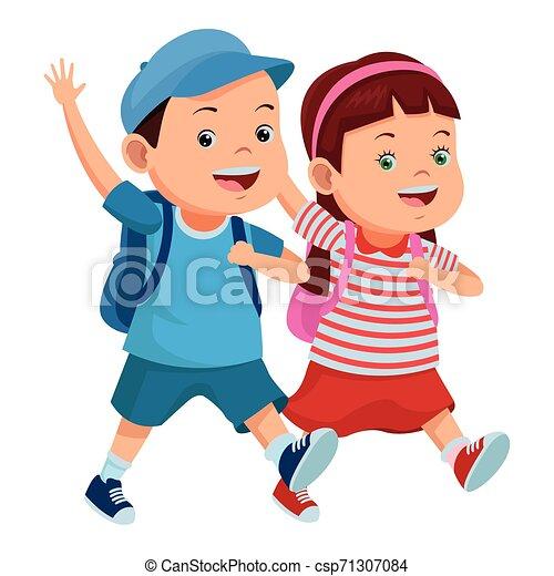 学校の 子供, バックパック, 微笑 - csp71307084