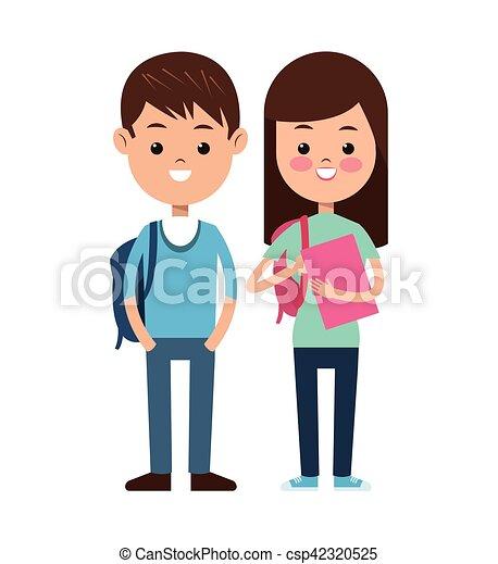 学校の 子供, 生徒, 背中, 対, 微笑 - csp42320525
