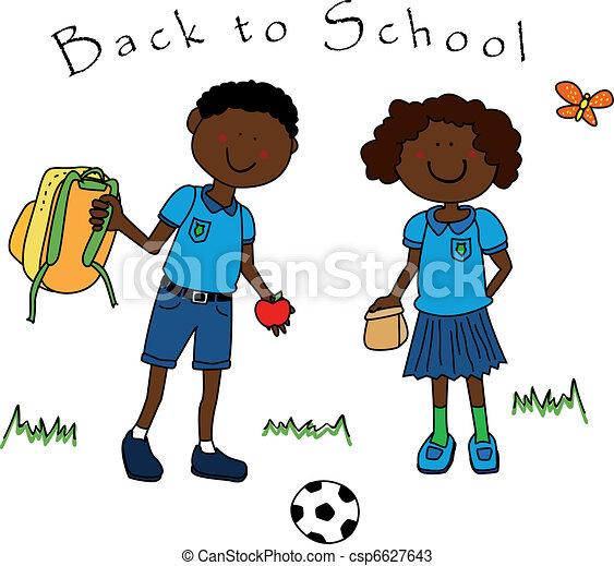 学校の 子供, 黒い偶力, 背中 - csp6627643