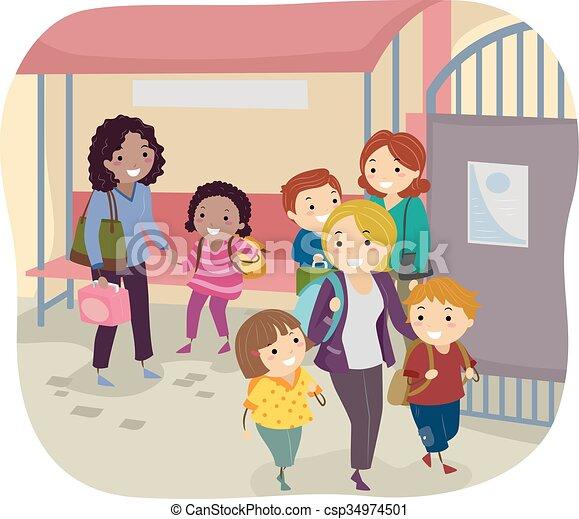 学校の 子供, stickman, 母, 区域, 待つこと, 取って来なさい - csp34974501