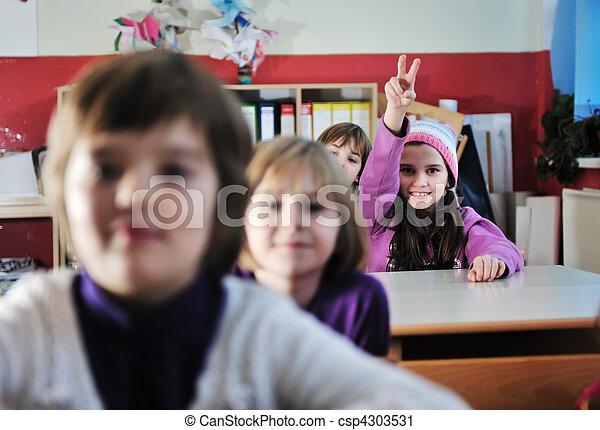 学校, グループ, 子供, 幸せ - csp4303531
