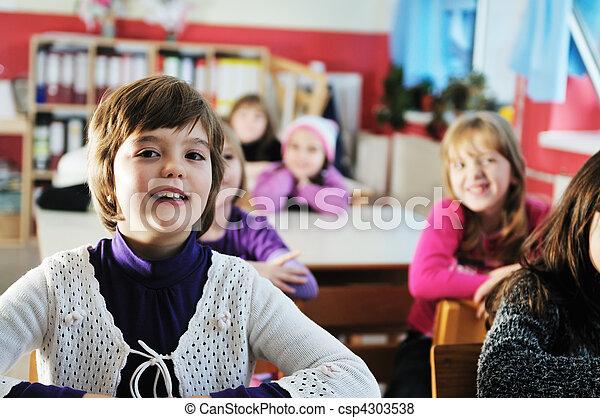 学校, グループ, 子供, 幸せ - csp4303538