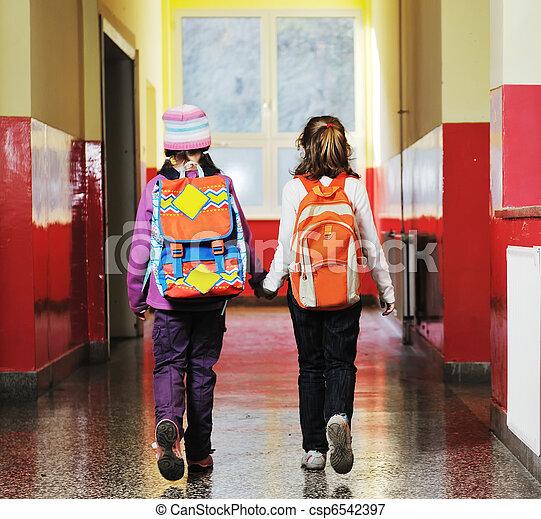 学校, グループ, 子供, 幸せ - csp6542397