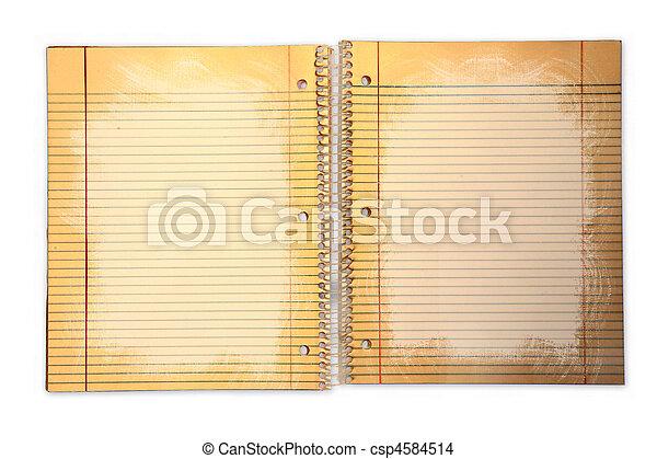 学校, ペーパー, つなぎ, 内側を覆われた, 汚い - csp4584514