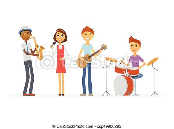 学校 人々 隔離された イラスト バンド 音楽 特徴 漫画 かわいい 人々 女の子 微笑 子供 ギター 作りなさい 隔離された 音楽 Singing インターナショナル プレゼンテーション