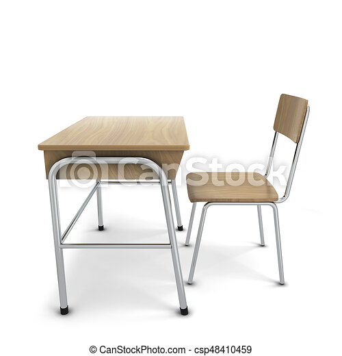 学校 椅子 机 学校 隔離された イラスト Chair 背景 机 白 3d
